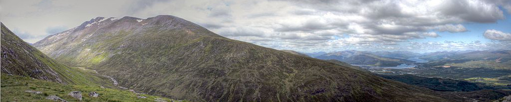 Panorama of Ben Nevis, the highest mountain in Britain