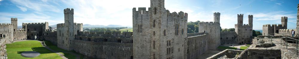 Caernarfon Castle, Wales panorama (banner for Data Group)