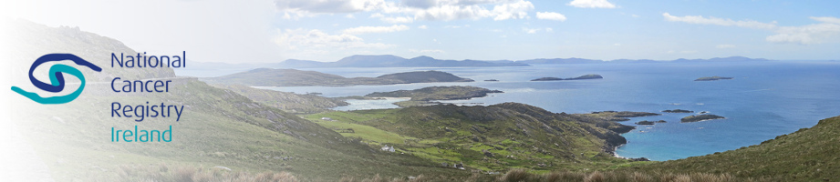 Panorama of the Ring of Kerry with logo of National Cancer Registry Ireland