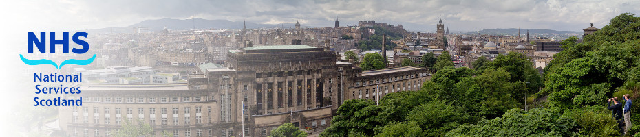 Panorama of Edinburgh with ISD Scotland logo